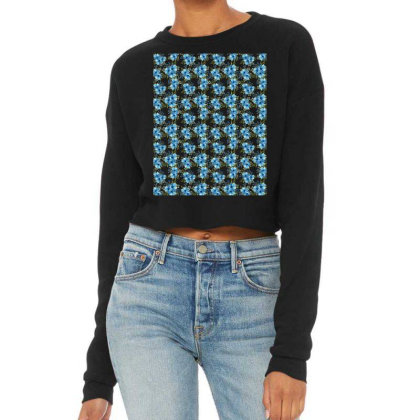 Blue Flower Watercolor Pattern Cropped Sweater Designed By Visudylic Creations