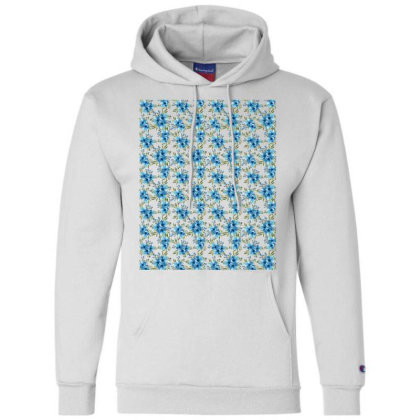 Blue Flower Watercolor Pattern Champion Hoodie Designed By Visudylic Creations