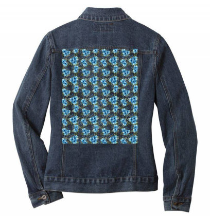 Blue Flower Watercolor Pattern Ladies Denim Jacket Designed By Visudylic Creations