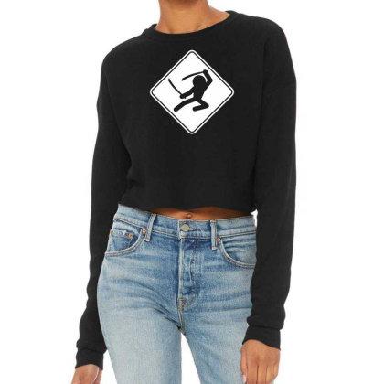 Ninja Crossing Sign Cropped Sweater Designed By Wanzinx