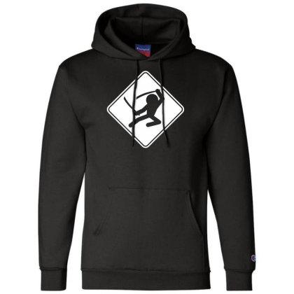 Ninja Crossing Sign Champion Hoodie Designed By Wanzinx