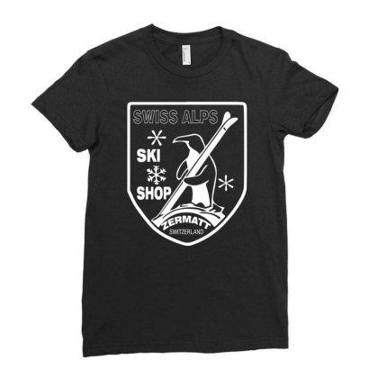 Swiss Alps Ski Ladies Fitted T-shirt Designed By Wanzinx