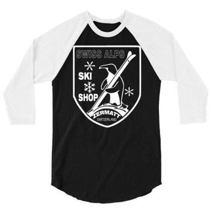 Swiss Alps Ski 3/4 Sleeve Shirt Designed By Wanzinx