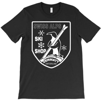 Swiss Alps Ski T-shirt Designed By Wanzinx