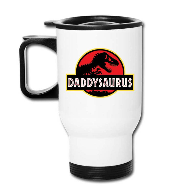 Daddy Dinosaur T Rex  Gifts For Dad From Kids Proud Daddysaurus Gifts Travel Mug | Artistshot