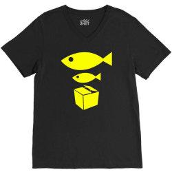 big fish little fish cardboard box V-Neck Tee   Artistshot