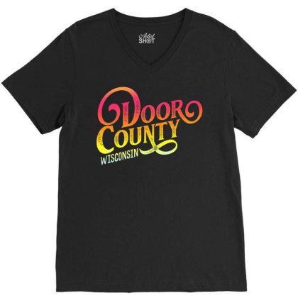 Door County Wis.con.sin Tourist Design Adults & Kids, Souvenir T Shirt V-neck Tee Designed By Cuser3146