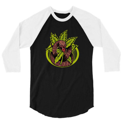 Cannabis Snake 3/4 Sleeve Shirt Designed By Andypp