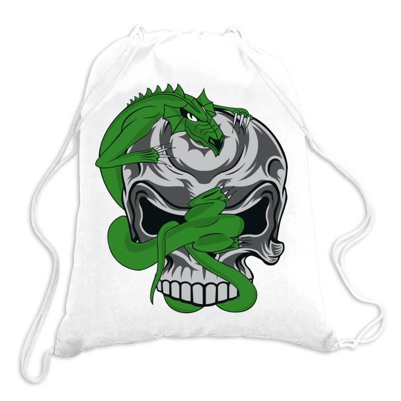 Skull Dragon Drawstring Bags   Artistshot