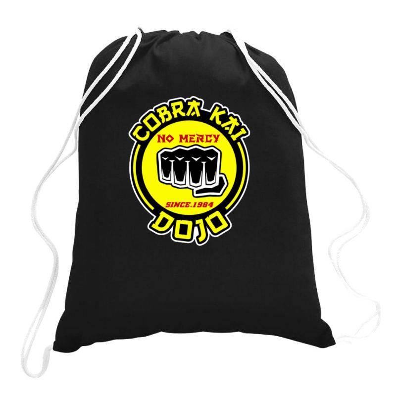 Cobra Kai , Strike First,strike Hard,no Mercy Drawstring Bags | Artistshot
