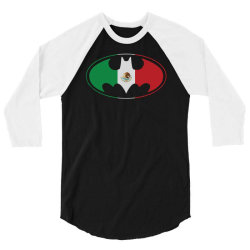 bat man mexican flag mexico logo 3/4 Sleeve Shirt   Artistshot