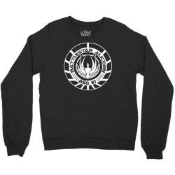 battlestar galactica distressed badge Crewneck Sweatshirt   Artistshot