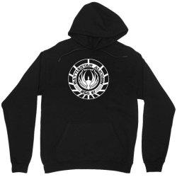 battlestar galactica distressed badge Unisex Hoodie   Artistshot