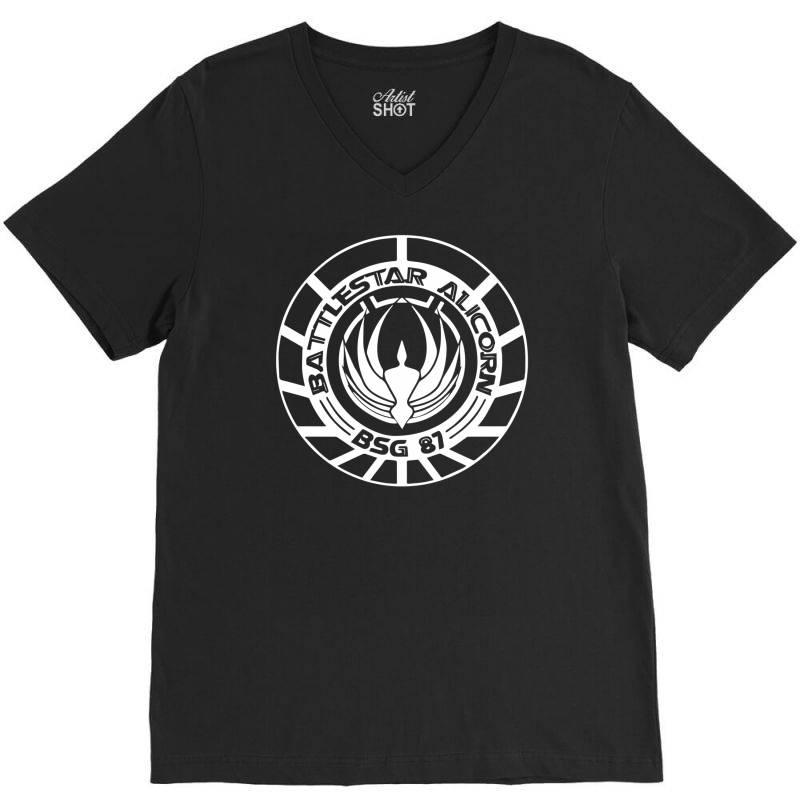 Battlestar Galactica Distressed Badge V-neck Tee   Artistshot
