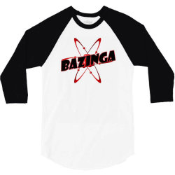 bazinga logo inspired by the big bang theory ideal birthday gift 3/4 Sleeve Shirt | Artistshot