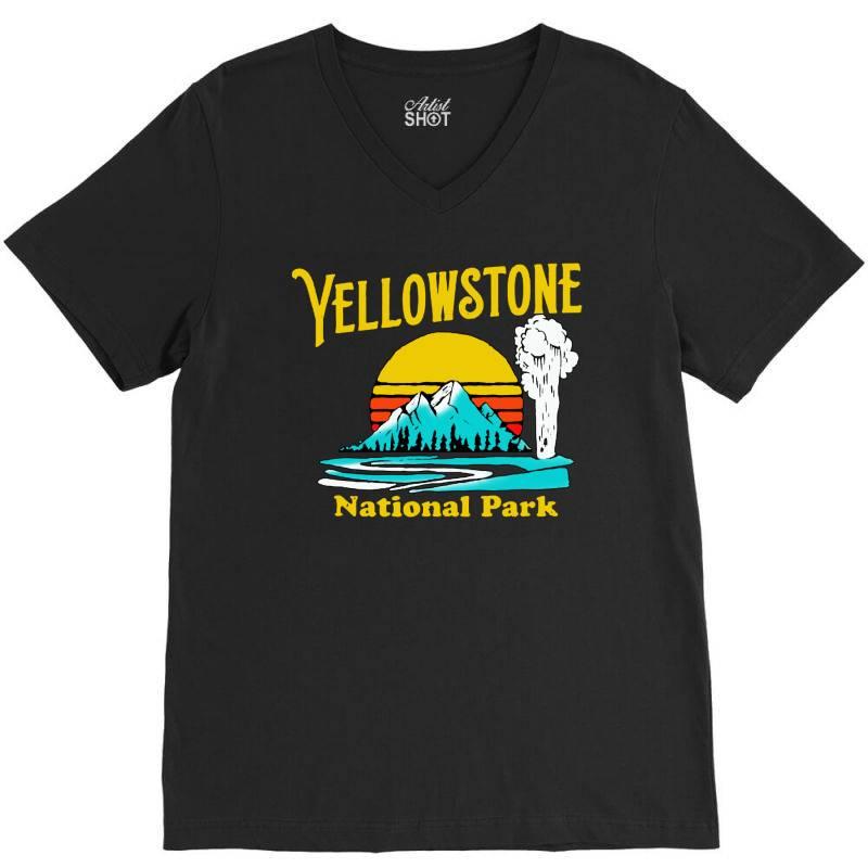 Vintage Yellowstone National Park V-neck Tee | Artistshot