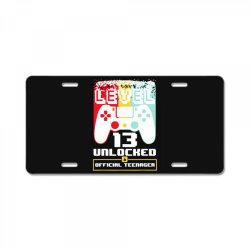 13th birthday gift boys level 13 unlocked License Plate | Artistshot