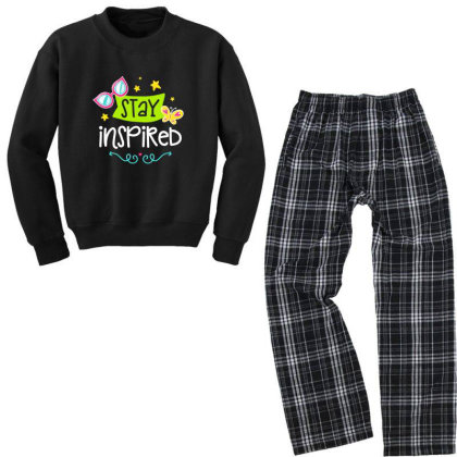Stay Insprired Youth Sweatshirt Pajama Set Designed By Gnuh79
