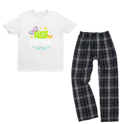 Stay Insprired Youth T-shirt Pajama Set Designed By Gnuh79