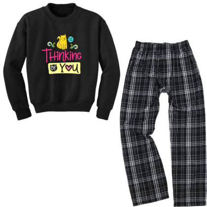 Thinking Of You Youth Sweatshirt Pajama Set Designed By Gnuh79