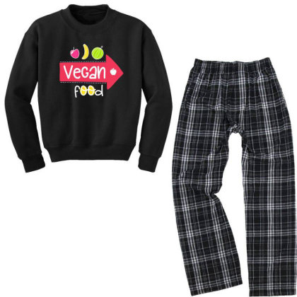 Vegan Food Youth Sweatshirt Pajama Set Designed By Gnuh79