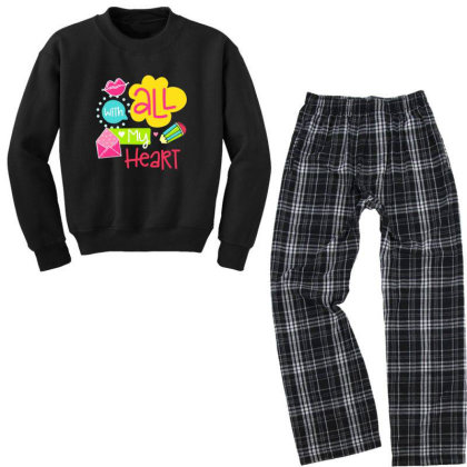 With All My Heart Youth Sweatshirt Pajama Set Designed By Gnuh79