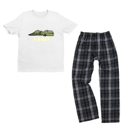 T-rest Lazy Funny Dinosaur Gift Youth T-shirt Pajama Set Designed By Eduely