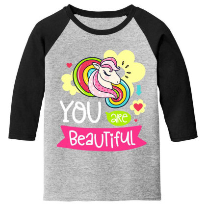 You Are Beaytiful T Shirt Youth 3/4 Sleeve Designed By Gnuh79