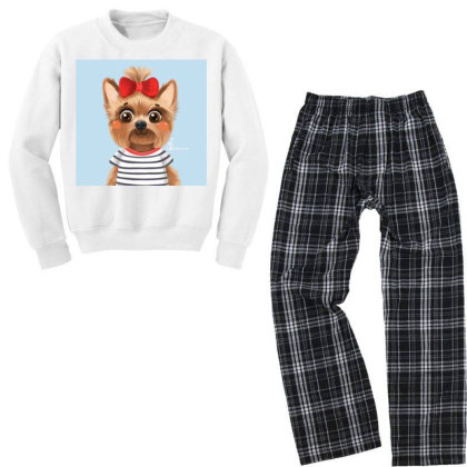 Dog Girl Youth Sweatshirt Pajama Set Designed By Barzilova Alyona