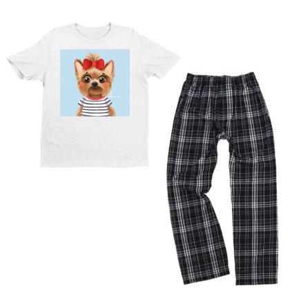 Dog Girl Youth T-shirt Pajama Set Designed By Barzilova Alyona