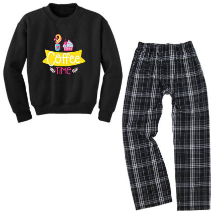 Coffee Time Youth Sweatshirt Pajama Set Designed By Gnuh79