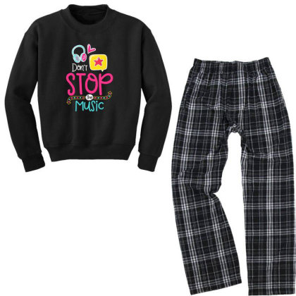 Don't Stop The Music Youth Sweatshirt Pajama Set Designed By Gnuh79