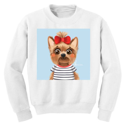 Dog Girl Youth Sweatshirt Designed By Barzilova Alyona