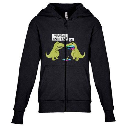 Funny Did You Eat The Last Unicorn Dinosaur Youth Zipper Hoodie Designed By Rame Halili