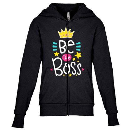 Be The Boss Youth Zipper Hoodie Designed By Gnuh79