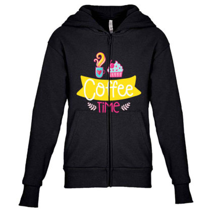 Coffee Time Youth Zipper Hoodie Designed By Gnuh79