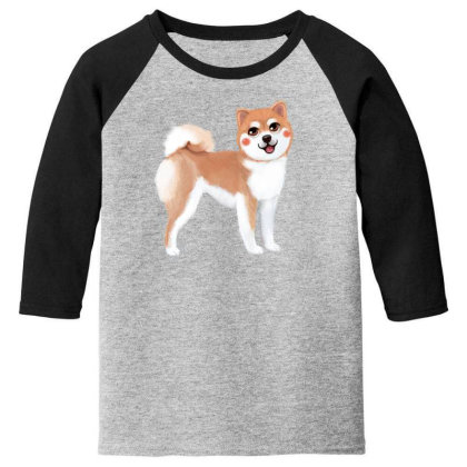 Dog Shiba Youth 3/4 Sleeve Designed By Barzilova Alyona