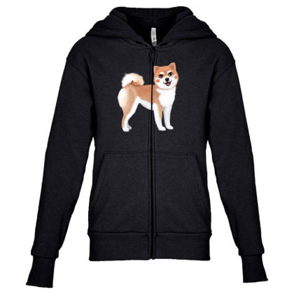 Dog Shiba Youth Zipper Hoodie Designed By Barzilova Alyona