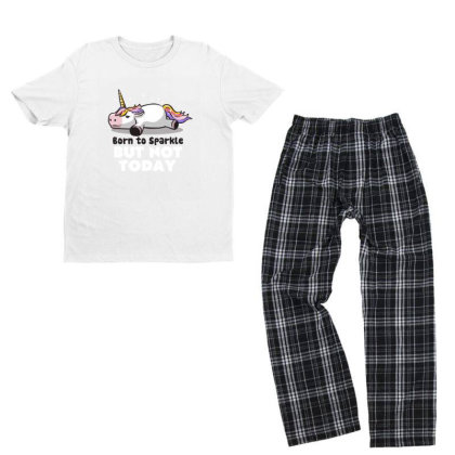 Born To Sparkle But Not Today Funny Unicorn Gift Youth T-shirt Pajama Set Designed By Eduely