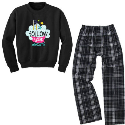 Follow Your Dreams Youth Sweatshirt Pajama Set Designed By Gnuh79