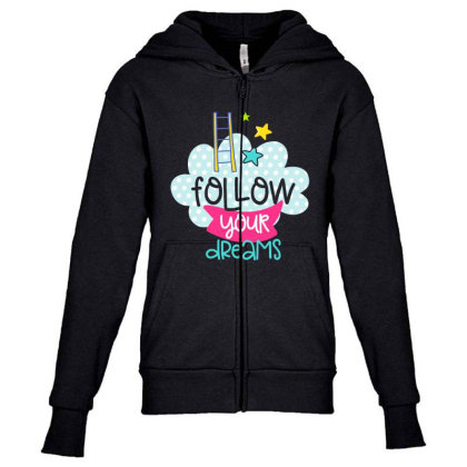 Follow Your Dreams Youth Zipper Hoodie Designed By Gnuh79