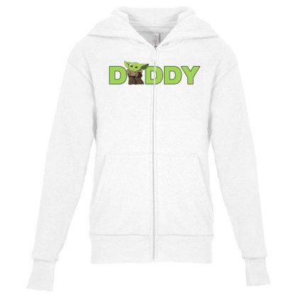 Daddy Yoda Youth Zipper Hoodie Designed By Akin