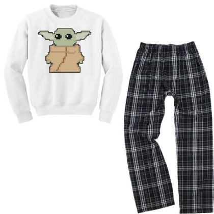 Pixel Yoda Youth Sweatshirt Pajama Set Designed By Akin