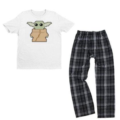 Pixel Yoda Youth T-shirt Pajama Set Designed By Akin
