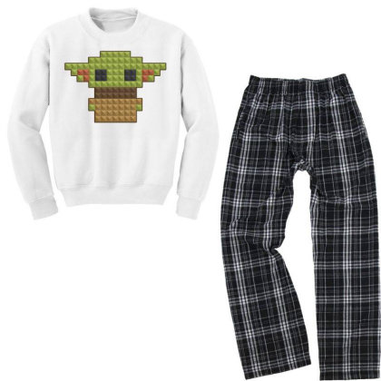 8bit Yoda Youth Sweatshirt Pajama Set Designed By Akin
