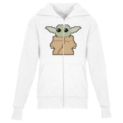 Pixel Yoda Youth Zipper Hoodie Designed By Akin
