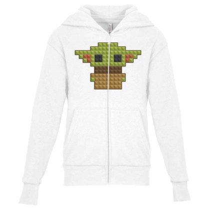 8bit Yoda Youth Zipper Hoodie Designed By Akin