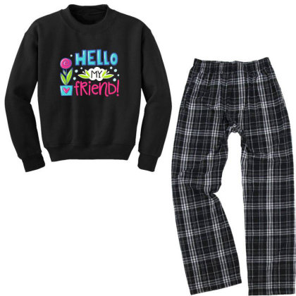 Hello My Frirend Youth Sweatshirt Pajama Set Designed By Gnuh79