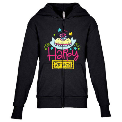 Happy Birthday Youth Zipper Hoodie Designed By Gnuh79
