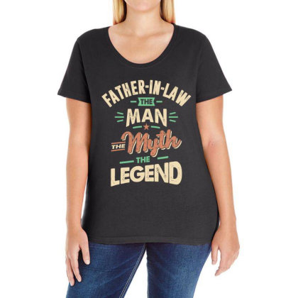 Mens Funny Fathers Day Father-in-law The Man The Myth The Legend Ladies Curvy T-shirt Designed By Cidolopez